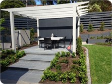 Ringwood East Project - Timber arbour, paving, screen, Landscaping